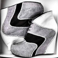 Handmade Patent Leather Black and White Wedges by NorTin