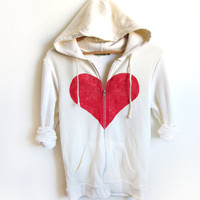Unbreak my Heart HAND STENCILED Zip Hoodie by twostringjane