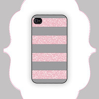 iPhone  Case- Gray/Pink Glitter Replica Stripe- iPhone 4 Case, iPhone 4s Case, iPhone 5 Case, Monogram Case, Personalized iPhone Case