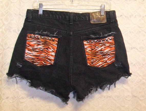 Black Cut OFF Denim Shorts StuddedTiger by GypsysTreasureCove