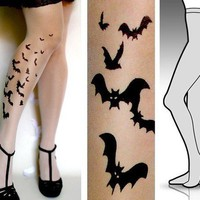 Small/ Medium sexy BATS tattoo tights / stockings/ by tattoosocks