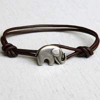 Elephant Leather  Bracelet 9 colors to choose by greenduckweed