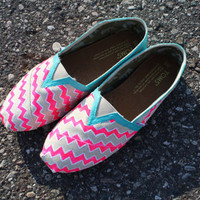 Custom painted Chevron Toms by Chelmarca on Etsy