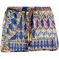 Purple Pacha scarf print satin shorts