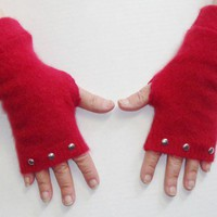 Upcycled Cashmere Texting Gloves with Studs