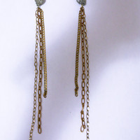 Pyrite and Chain Comet Earrings by nubambu on Etsy