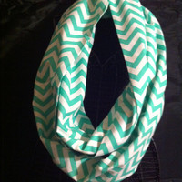 Light Green and White Chevron Infinity Scarf