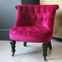 Trianon Pink Button Back Velvet Nursing Chair