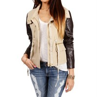 Khaki/Brown Faux Leather Canvas Jacket