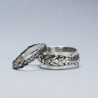 925 Silver Wedding Ring Set, Sterling Silver Twig Bands, Branch Rings, Organic Jewelry, Cedar Rings, Recycled Silver, Nature Jewelry