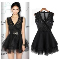 Lace Tank Mini dress in Black