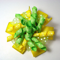 Korker Bow, Yellow, Green Korker Bow, St. Patrick's Day, Easter