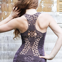 Crochet Dusty Purple racer back tank top, very detailed beautiful crochet