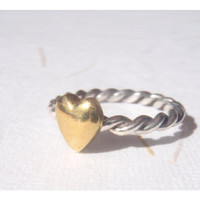 Brass Heart Ring - Sterling Silver (925)