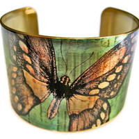 Butterfly cuff bracelet brass adjstable Free Shipping to USA