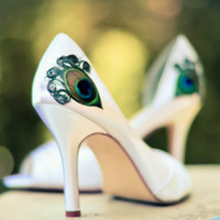 White Satin Peep Toe Pleated Peacock Pump ... ANY SIZE