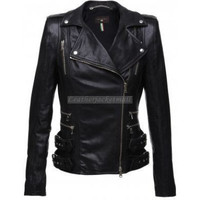 handmade women elegant Black Leather Jacket, women Black biker Leather Jacket, women leather jacket