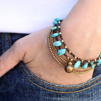 Turquoise Brass Chain Bracelet by XtraVirgin on Etsy