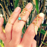 Gold Wire Charm KNUCKLE TIP Rings. Cross, Feather, Skull &amp; Crossbones, RegalRose