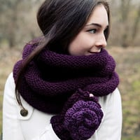 Convertible cowl in deep plum to keep both by BglorifiedBoutique