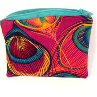 Peacock change purse or zipper pouch pink by redmorningstudios