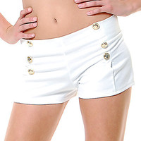White Gold Button Sailor Shorts - Unique Vintage - Cocktail, Evening & Pinup Dresses