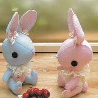 Kawaii Pretty Bunny miniature animal Mascots Stuffed Plush Toy Doll E PATTERN Handmade Sewing Crafts pdf in Chinese & English