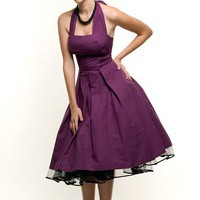 Eggplant Flirty Cotton Swing Dress - XS to 4XL - Unique Vintage - Cocktail, Evening & Pinup Dresses