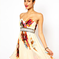 Printed Bandeau Prom Dress