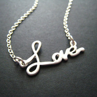 LOVE Necklace On Sterling Silver Chain Letters by ohdeercreations
