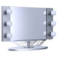 "Amazon.com: Starlet Table Top Lighted Vanity Mirror 34"" - Silver: Home & Kitchen"