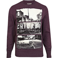 Dark red Chicago print sweatshirt