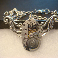 Victorian Style Steampunk  Vintage Elgin Watch Movement Necklace (939)