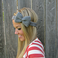 Heather Grey Bow Headband with Natural Vegan Coconut Shell Buttons - Adjustable