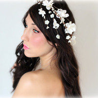 Flower Headband Cascade Crown Wedding Tiara wedding by deLoop