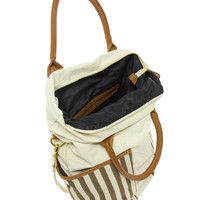 Pieces Earla Stripe Big Canvas Net Bag