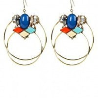Double Hoop Crystal Cluster Earrings