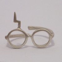 Harry Potter ring. Lightning glasses.Sterling silver ring.Adjustable scar ring.Gift under 25.