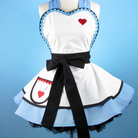 Enchanted Alice Apron for Tea Time by dotsdiner on Etsy