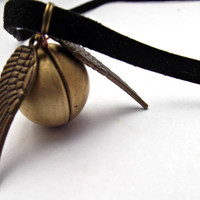 Harry Potter Necklace Golden Snitch Black by KrystleClearCreation
