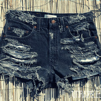 High Wasted Trashed Jean Shorts MEDIUM by UnraveledClothing