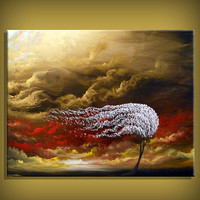 Summer Wind - cloud painting tree painting large abstract landscape by mattsart