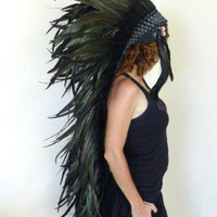 Extra Large Shining Dark Green Feather Headdress (43 inch long )