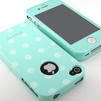 G&J New Mint matte Screen+Polka Dot silicone Back case cover for iPhone 4 4S 4G