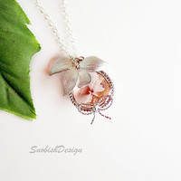 Orchid Jewelry  Pink Champagne Bezel Necklace  by SnobishDesign