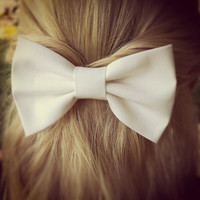 white bow  BIG hair bow by ColorDropBowtique on Etsy