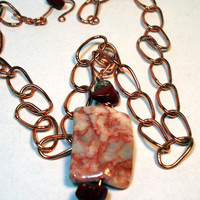 Red Marble and Brown Jasper Wire Wrapped Pendant on Copper Chain