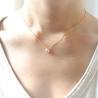 Clear Crystal Bezel Pendant Necklace