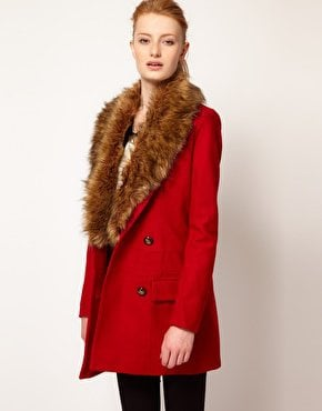 Vero Moda Faux Fur Lapel Double Breasted Coat at asos.com