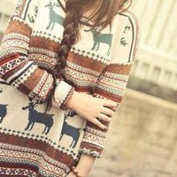 Nordic Reindeer Hipster Oversized Sweater